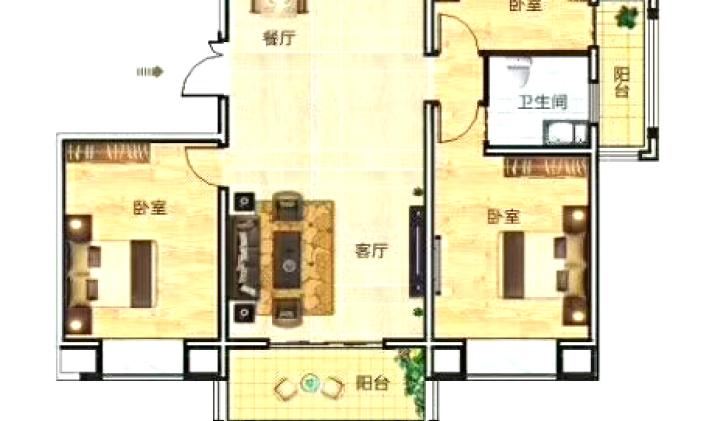 卫东区城中 豫森公馆 3室1厅1卫 105平米
